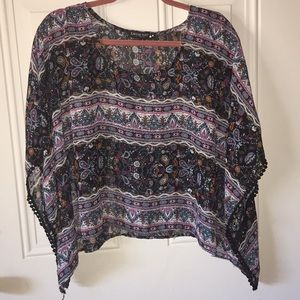 Women's Flowy Sheer floral paisley Patterned top
